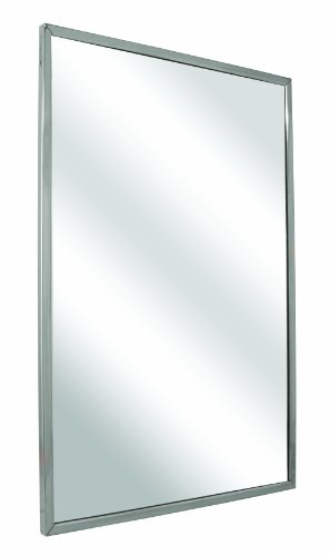 """Bradley 780-024360 Float Glass Angle Frame Mirror with Welded Corners and Theft Resistant Mounting, 24"""" Width x 36"""" Height"""