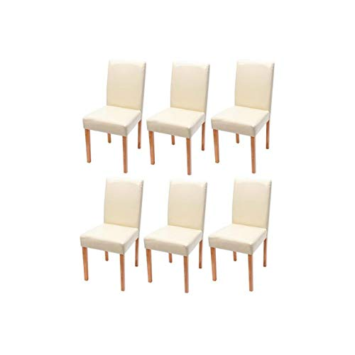 Mendler 6X Esszimmerstuhl Stuhl Küchenstuhl Littau ~ Kunstleder, Creme, helle Beine