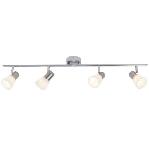 Brilliant Janna LED Spotrohr, 4-flammig, drehbar, 4x E14 3 W LED inklusive, Metall/Glas, eisen/chrom/weiß G46132/77