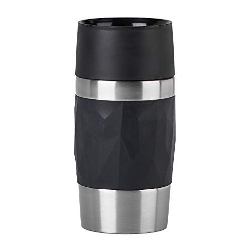 Emsa N2160100 Travel Mug Compact Thermo-/Isolierbecher aus Edelstahl | 0,3 Liter | 3h heiß | 6h kalt | BPA-Frei | 100% dicht | auslaufsicher | spülmaschinengeeignet | 360°-Trinköffnung | Schwarz