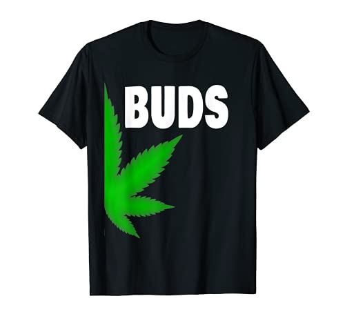 Couples Matching Best Buds BFF Marijuana Leaf Weed Gift T-Shirt