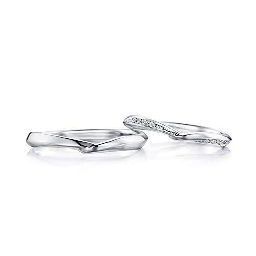 Bishilin Paar Ringe Weißgold 750 Echt Poliert Breit 2.3MM 2.8MM Eheringe Nickelfrei Hochzeitsringe Weißgold 0.05ct Diamant Damen Gr.54 (17.2) + Herren Gr.65 (20.7)