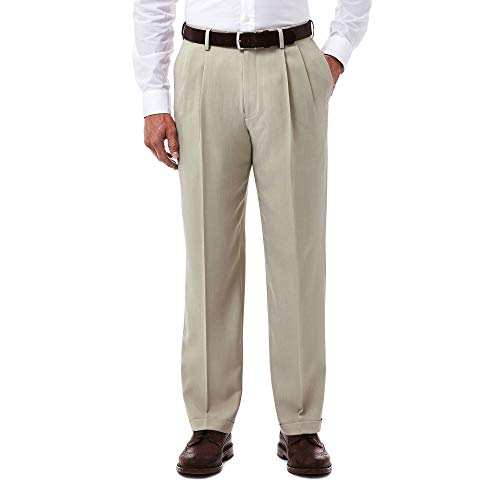 Haggar Men's eCLo Stria Expandable-Waist Pleat-Front Dress Pant, Sand, 36Wx29L
