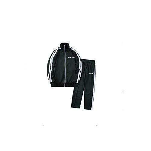 Angels Schwarz und Weiß Streifen Anzug Sportjacke Freizeitmantel Lange Hosen Mode Anzug Sweatpants Grau Gr. 42, farbe