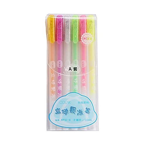 6 penne gel fluorescenti 3D Jelly Gel Penne fluorescenti per pittura gel Kit per album di ritagli, diario di viaggio, agenda gel colorato per prendere appunti e scrivere giornali, confezione da 6