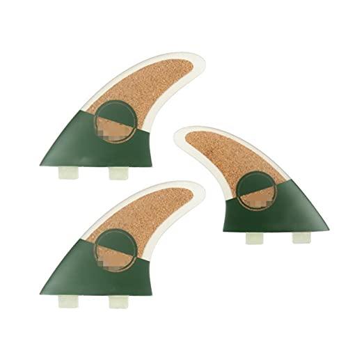 SHAOXI Aleta de Cola de Tabla de Surf Corcho de Surfboard Thruster Fins G5 Surf Fins Surfing Tail Troudder para longboards, Tablas de Surf y Tablas de Paleta (Color : Green)