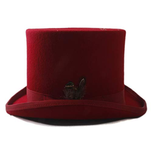 Yiph-Hat Accesorios Sombrero de ala Ancha Diario Sombrero de Iglesia Sombrero de Copa Rojo de Lana 100% for Hombres Mujeres Sombrero de Pluma de Fedora de Sombreros radicales Sombrero de Mago