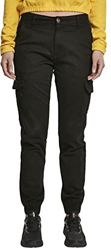Urban Classics Ladies High Waist Cargo Pants Pantalones, Negro (Black 00007), 44 (Talla del Fabricante: 30) para Mujer