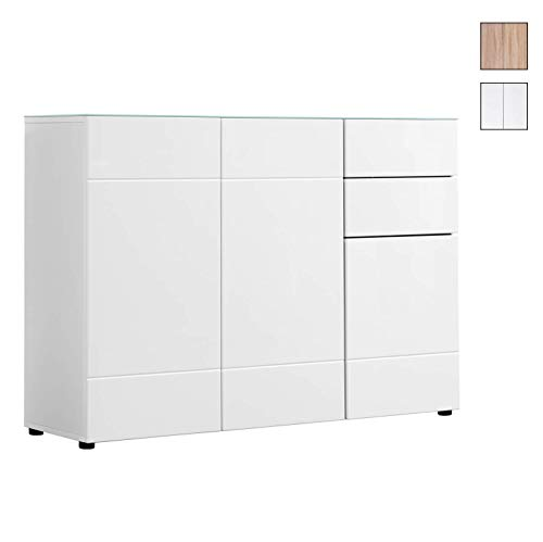 mokebo® Kommode 'Die Elegante' Sideboard, Highboard, Made in Germany & klimaneutraler Versand, MDF in Hochglanz Weiß -20, mit Glasplatte