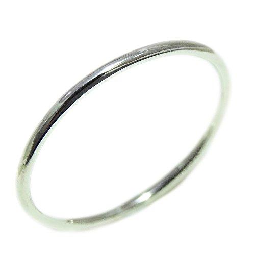 極細 華奢 リング シルバーリング シンプルリング ファランジリング ミディリング シルバーアクセサリー 手作り指輪 シルバー950 (プラチナカラー, 13.5)