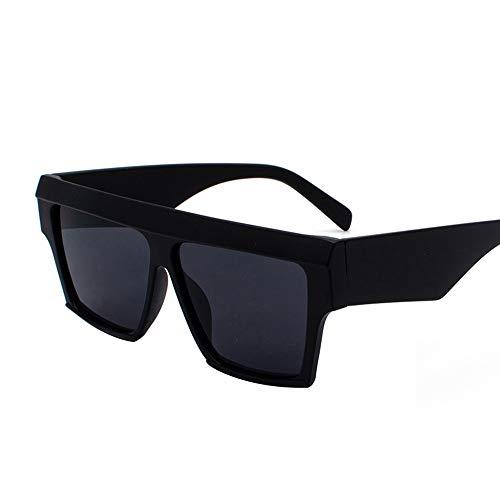 WHSS Gafas de Sol Gafas Personalizadas De Europa Y América. Gafas De Sol De Playa con Gafas Retro Redondas. (Color : Black)