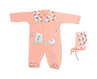 Baby Shoora Long Sleeves Jumpsuit with Drawstring Hat Clothing Set for Girls