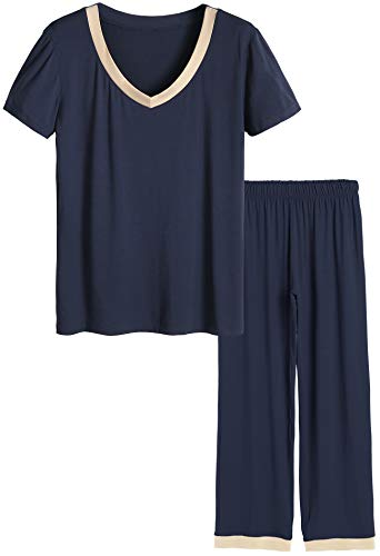 Latuza Women's Bamboo V-neck Short Sleeves Pajama Set L Navy