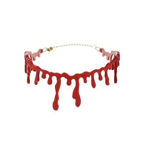 qingy Compre Collar De Sangre, Collar De Mujer, Decoraciones navideñas de Halloween Son fáciles de Usar y almacenar, 36 cm