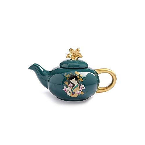 Disney Mulan Tetera New Home-Ware Collection Juego de tetera, set de regalo, porcelana, verde botella, Tea Pot