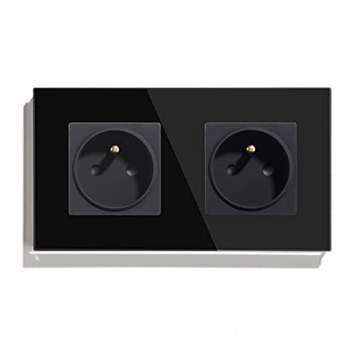 BSEED - Toma de pared de 16 amperios de corriente alternativa, panel de cristal estándar francés nuevo enchufe de pared, negro, 250.00V