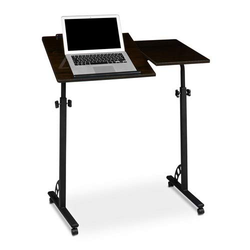 Relaxdays Laptop Table, Large, Height Adjustable, 110 x 80 x 50 cm, Mobile Podium w/ Wheels, Lecturn, Black