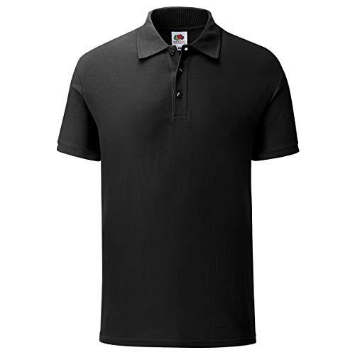 Fruit of the Loom 5er Pack Iconic Polo Shirt Herren Poloshirt Mehrpack Größe S - 3XL, Farbe:schwarz, Größe:XL