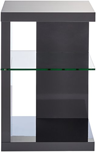 HomeTrends4You 516653 Side Table/Bedside Table 60 x 40 x 40 CM High Gloss Charcoal Grey