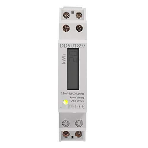 LCD digitaler Wechselstromzähler Stromzähler Wattmeter mit Leistungsanzeige 5(50) A für Hutschiene mit S0 Schnittstelle
