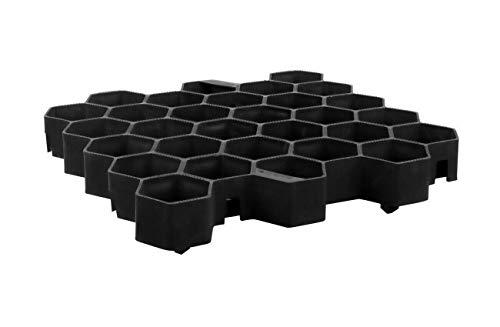 Preisvergleich Produktbild JeCo - 4x Rasenwabe Rasengitter Rasengitterplatte 35x33 cm schwarz