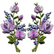 Lavender Pink Silver Roses Pair Flowers Floral Bouquet Embroidered Appliques Iron-ons Patches New Patch Measures 2.25 inches Wide (Measured from The widest Point) by 4.5 inches Tall. Custom Patch.