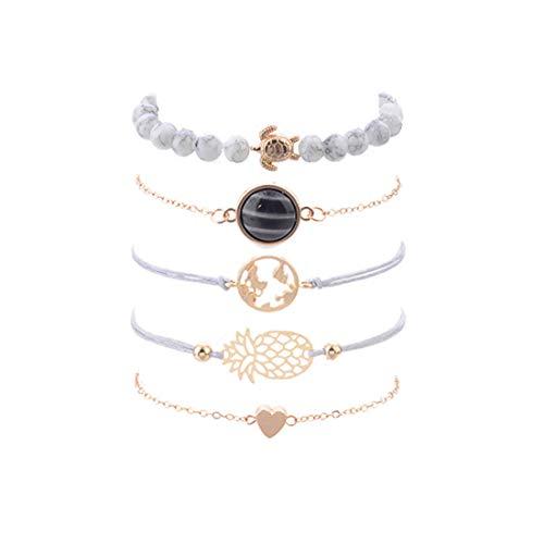 Ivyday VWH 5Pcs/ Set Bohemian Bracelet Set Handmade Pineapple Turtles Beading Maps Bracelet Women Jewelry Gift