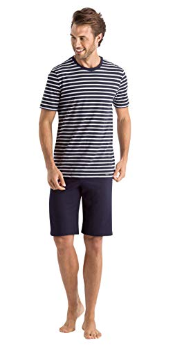 Hanro Herren Night and Day Short Sleeve Stripe Pajama Pyjama Set, Marineblau gestreift, XX-Large
