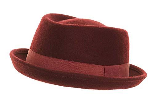 Hawkins - Chapeau porkpie Heisenberg en laine feutre avec bande - Bordeaux, M/L - 59cm