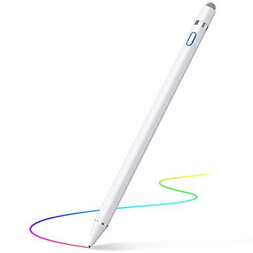 【2020年最新版】 タッチペン 極細 スタイラスペン iPad/iPhone/Android 導電繊維ペン先 1.4mm銅製ペン先 高感度 ツムツム USB充電式 スマートフォン タブレット対応 (ホワイト)