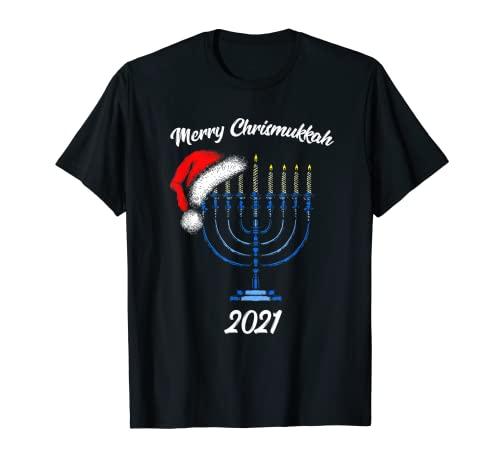 Merry Chrismukkah 2021 Happy Hanukkah Christmas Santa Hat T-Shirt