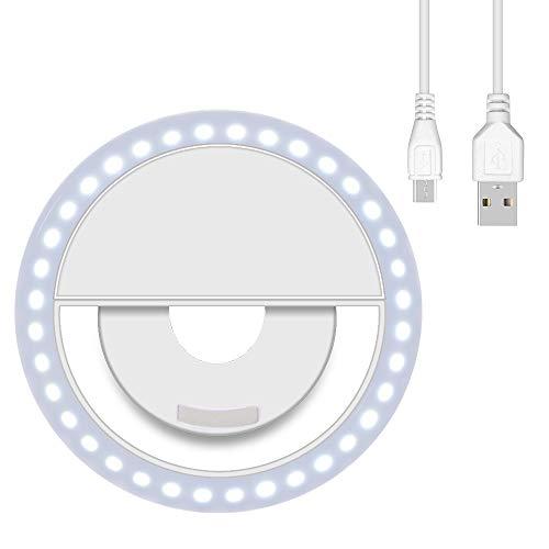 aovowog Selfie Light Ring Ricaricabile con 36 LED Anello Luce Selfie 3 Livelli di Luminosità per iPhone Samsung Huawei Xiaomi - Bianco