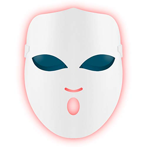 REAKOO Light Therapy Mask LED Gesichtsmaske Akne Behandlung Maske Anti-Akne Lichttherapie Collagen-Whitening-Maske Photonen Entzündungen mit Blau/Rot/Orange Licht