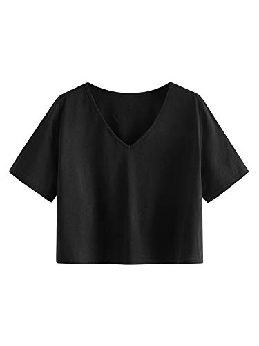 SweatyRocks Women's Casual V Neck Short Sleeve Basic Solid Crop Top T-Shirt Black S