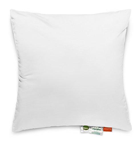sleepling 193777 Kopfkissen aus Bio Baumwolle mit Cyclafill Füllung aus recycelten Plastikflaschen (100% Polyester), mittlere bis hohe Festigkeit, 65 x 65 cm, weiß