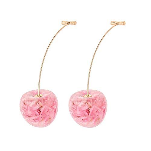 Pendientes de gota de perlas de cerezo acrílico para las mujeres estilo simple lindo rojo rosa cereza pétalo cuelga pendientes niña dulce fruta joyería