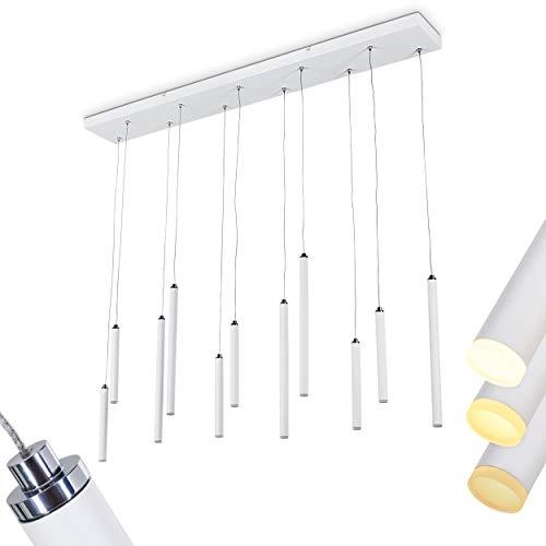 LED Pendelleuchte Porquera, längliche Hängelampe aus Metall in weiß, über Lichtschalter in 3 Stufen dimmbar, 11 x LED 2,5 Watt, 3000 Kelvin, 2420 Lumen, Höhe max. 150 cm (verstellbar)