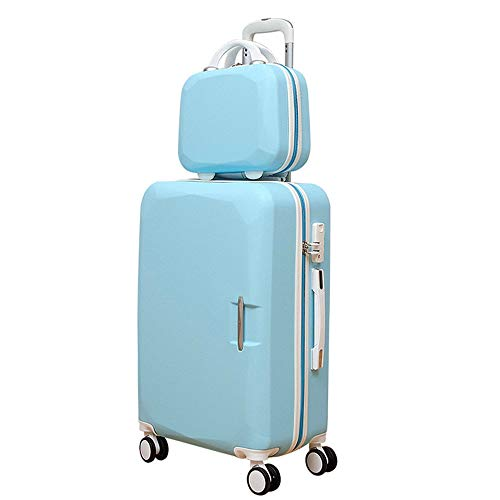 Suitcase Carrying Rotating Lightweight TSA Lock Trolley Case Column Luggage Silent Rotator Multi-directional Aircraft Plane Travel Luggage Case (Color : Pink, Size : 20in+14in)