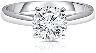 UNITED WORLD DIAMONDS 1.50 Carat Lab Created Classic Solitaire Diamond Engagement Wedding Ring for Women with 10kt White G...