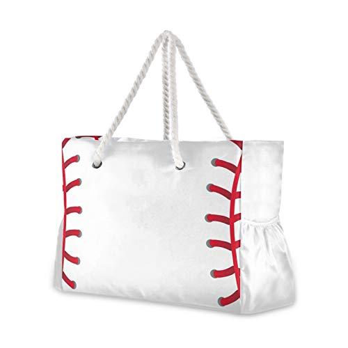 RELEESSS Große Reise Strand Tasche Baseball mit Reißverschluss Wasserdichte Tote Bag Schultertasche für Frauen Damen Mädchen Herren Unisex