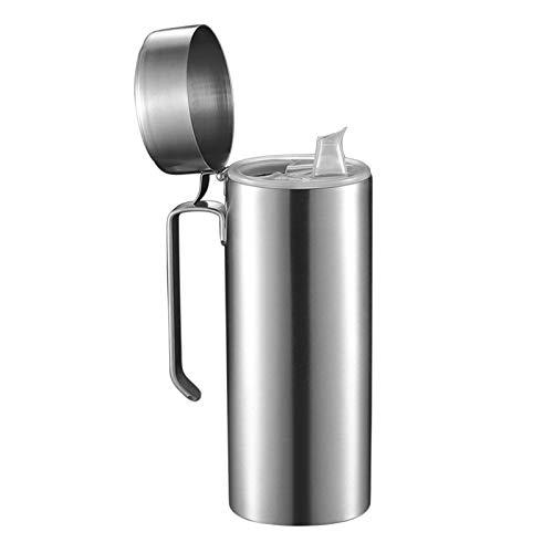 Aceitera de acero inoxidable, jarra de aceite, dispensador de aceite de oliva de acero inoxidable, jarra de vinagre con tapa de la boca de filtro, dispensador de aceite a prueba de fugas