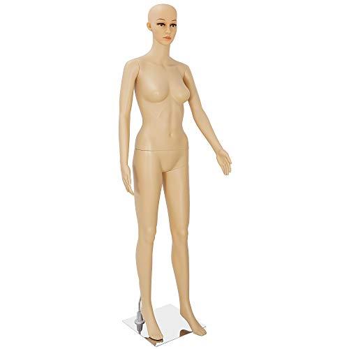 68.9' Female Full Body Realistic Mannequin Head Turns Dress Form Display w/Metal Base Plastic Slapped Adjustable Dressmaker Dummy Detachable