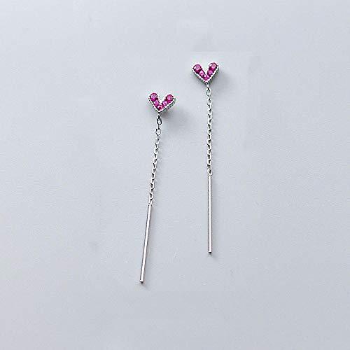 GenericBrands Pendientes corazón Palo cuelga Pendientes Colgantes Rosa para Mujer Boda joyería de Plata de Ley 925 Regalo-Plata