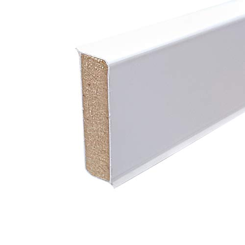 Cubu flex life Design Sockelleiste 40mm 12,6x40mm, 10x2,5m, weiß für vinyl 10 Stück a 2,5 lfm, 2,51 EUR/lfm 62,75 €/Verpackungseinheit (10 Stück)