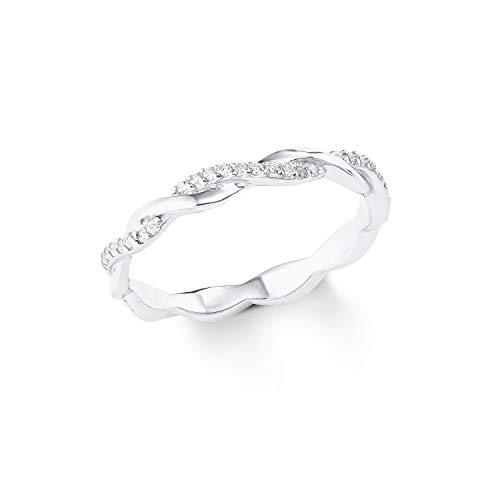 s.Oliver Damen-Ring Sterling Silber 925 Zirkonia (synth.) rhodiniert-Breite 3mm