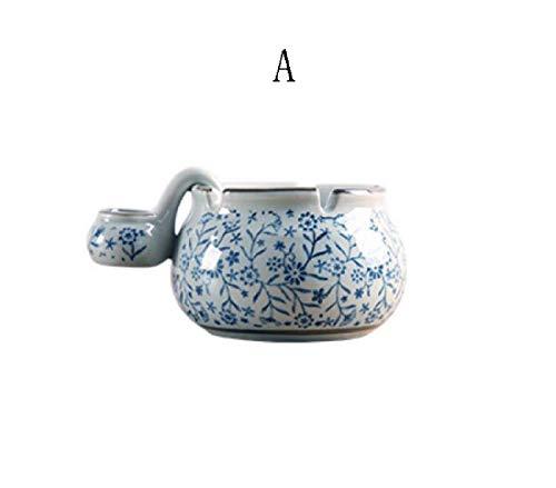 XiYou Cenicero Caja de Puros, Humidor Cenicero de cerámica de Estilo japonés Azul y Blanco Pintado a Mano con Fregadero Regalos creativos Personalizados Sala de Estar Dormitorio Cenicero Creativo