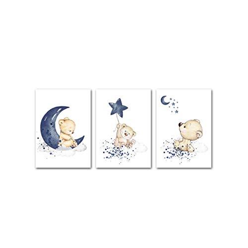 QIAOO Póster de guardería Infantil Oso Luna Estrella Lienzo Arte de Pared, impresión de Pintura de Animales nórdicos niños Imagen Decorativa, decoración de Dormitorio de bebé niño sin Marco