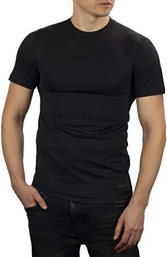 281Z - Camiseta térmica Ligera para Hombre, para Senderismo, Senderismo al Aire Libre, Polartec Power Grid, línea de fiabilidad del Terreno - Negro - XX-Large
