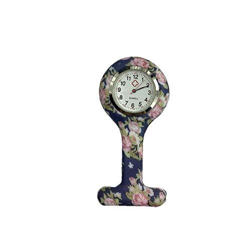Sanfiyya Reloj analógico de bolsillo para mujer con diseño floral, reloj analógico de silicona con broche de clip para enfermera médica