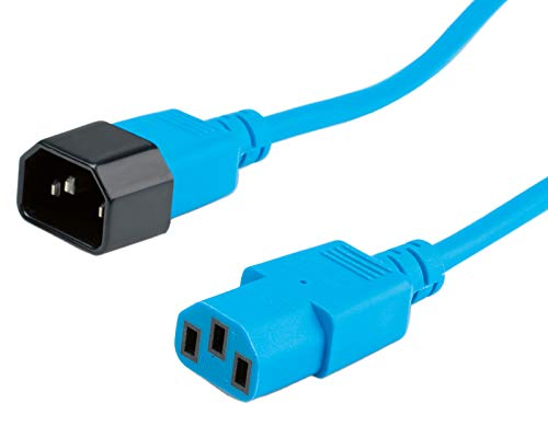 ROLINE Kabel mit Kaltegerätstecker   IEC320 C14 Stecker / C 13 Buchse   Blau 1,8 m